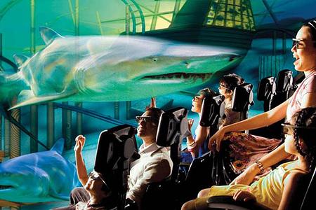 立体效果的基础上增加动感座椅,环境特效,5d电影院让观众从听觉,视觉