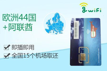 【全国15个机场取还】欧洲45国卡    免激活
