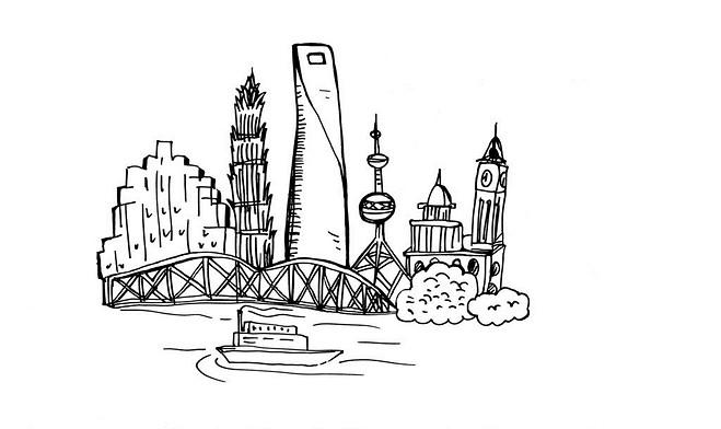 上海城隍庙手绘速写