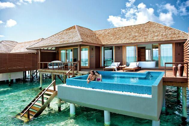 马尔代夫 神仙珊瑚岛 4晚豪华按摩泳池水上别墅>含早