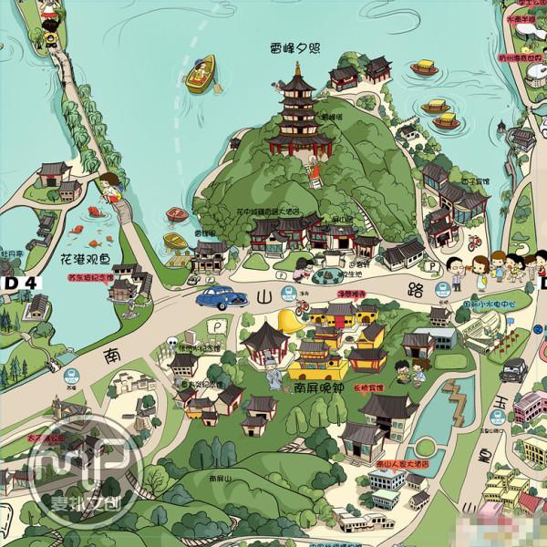 西湖手绘地图高清