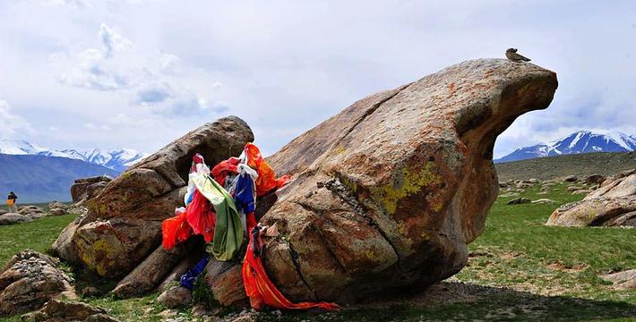 阿敦确鲁景区位于温泉县城西47公里处,总面积9.36平方公里,海拔在1210米。整个景区东西延伸3.6公里,南北宽约2.6公里。景区划分为古岩画、古墓群、石头城、母亲石四部分。 古岩画群:是目前新疆发现的面积最大的古代岩石画群之一。图像多为盘羊、北山羊,间有鹿、猪、狗、狼及狩猎图等,大多图位凿在石头朝阳的黑色岩晒面上。 石栅栏古墓群:是由多个单体墓体组成的古墓群,共计60多座,形状较复杂,但多为正方形,也有少量的矩形。该处石栅栏古墓群比较典型,据专家考证,这种墓型在新疆地区尚不多见,对研究新疆古代游牧民族