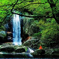 天台山石梁飞瀑景区