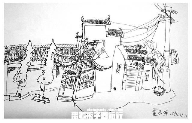 黑白乡村手绘图
