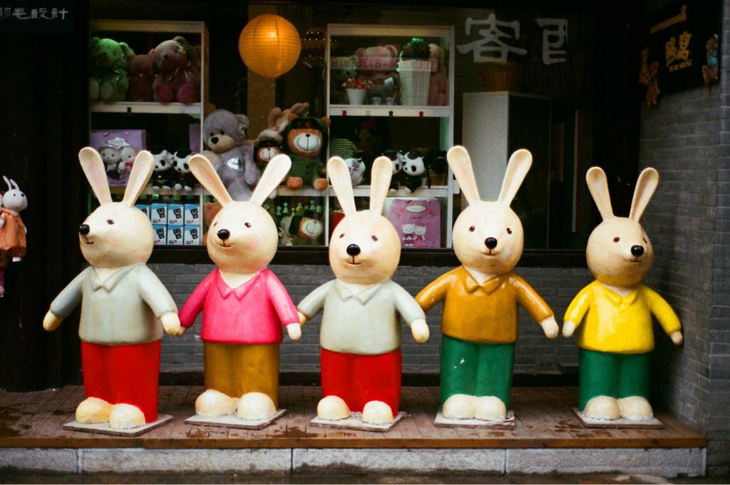 五只特别可爱的大兔子,说的是【扬州欢迎你】.