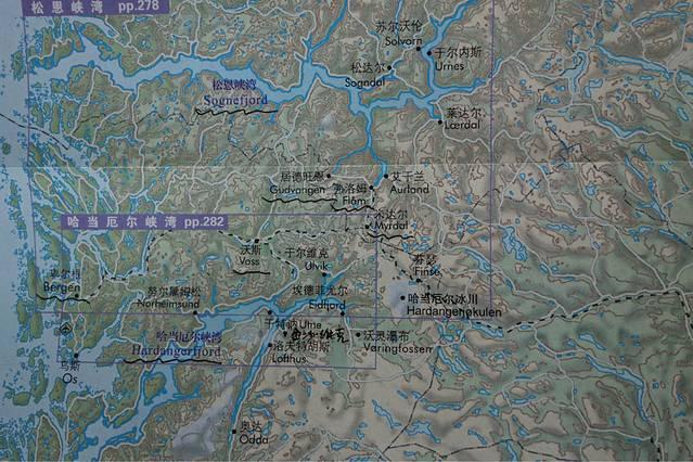 峡湾地图 首都奥斯陆位于地图右下角 一路向西北方向行驶到达金沙维克
