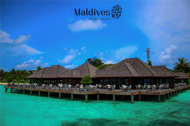 马尔代夫双鱼岛,穿着婚纱行走的夏天