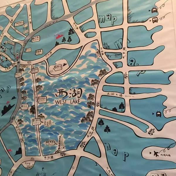 西湖灵隐手绘地图