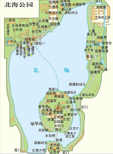 北海公园平面图图片
