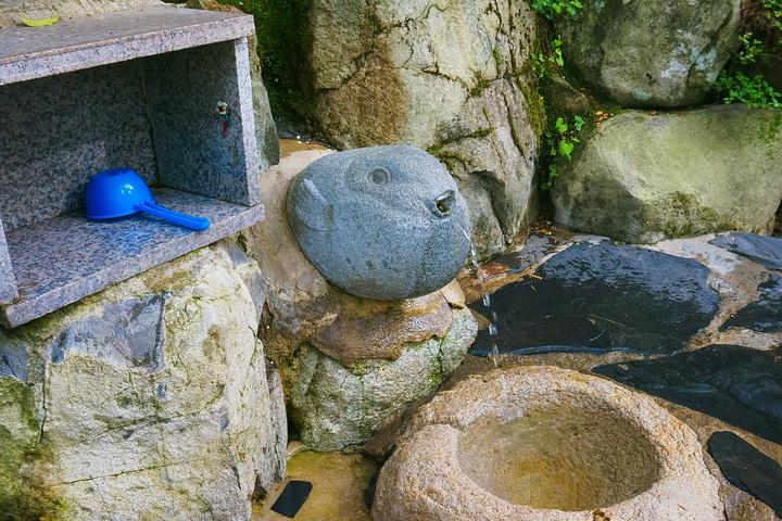 路边的饮水点,好可爱的河豚喷水造型.