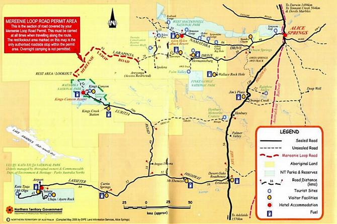 莫里尼环道(mereenie loop road)和澳中环路游览地图