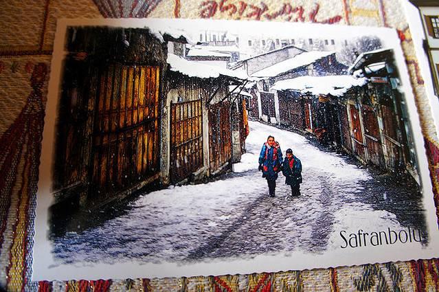 萨夫兰博卢的明信片,手绘风格