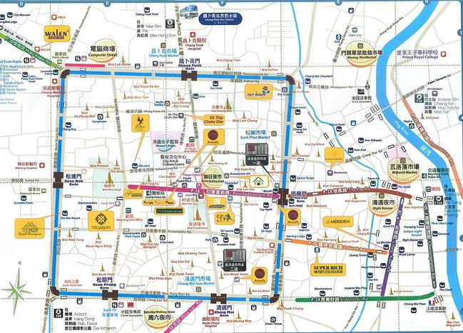 清迈很小,地图上正方形的蓝色框是市区里的一条小河,如果我没理解错