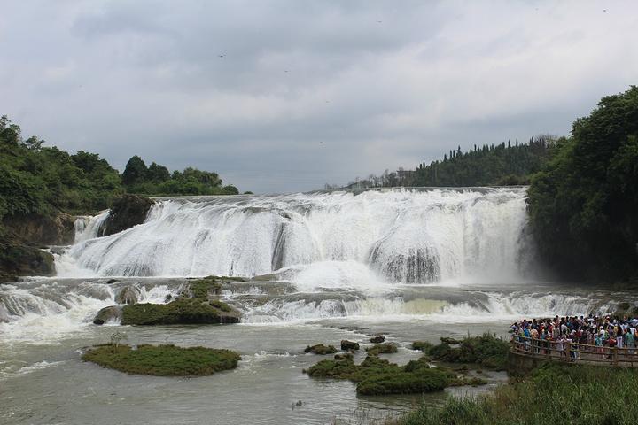 """这一天主要游览黄果树大瀑布景区。黄果树大瀑布景区主要由陡坡塘瀑布、天星桥景区、黄果树瀑布组成。 下了旅游巴士,坐上景区的环保车到了景区,步行十来分钟便来到了陡坡塘瀑布,这是黄果树瀑布群中瀑顶最宽的瀑布。而让这里闻名于世的是,便是当年拍摄《西游记》时,唐僧师徒四人牵马过河场景的拍摄地,这里也深深铬上了《西游记》的印记。所以一路上情不自禁地哼着《西游记》的主题歌:""""你挑着担,我牵着马……""""。走近陡坡塘瀑布,便看到宽宽的瀑布从山上直泄而下,犹如一匹宽大的白练挂"""