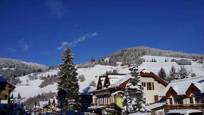 蓝天 雪松 白茫茫的雪山小镇 只有冬天才能看到的景致