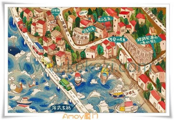 厦门手绘地图竟然可以这么美!厦门这十大景