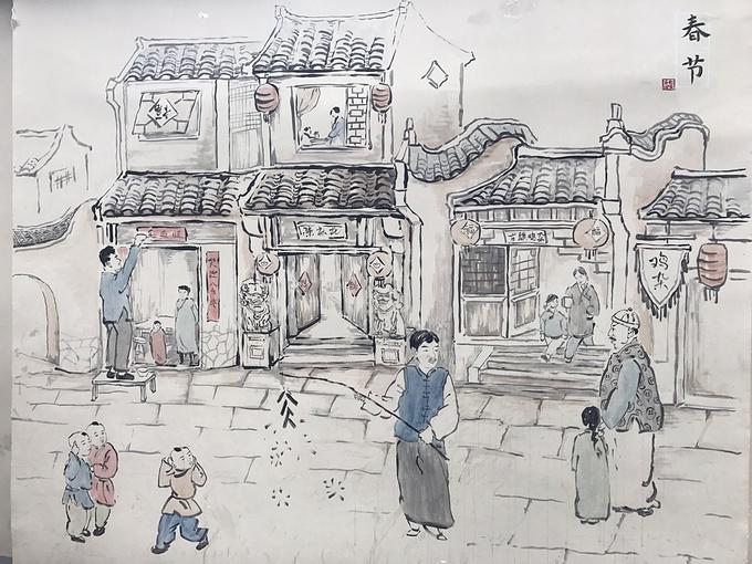 成都古镇手绘图片