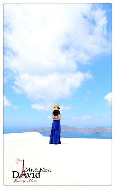 海边少女背影手绘