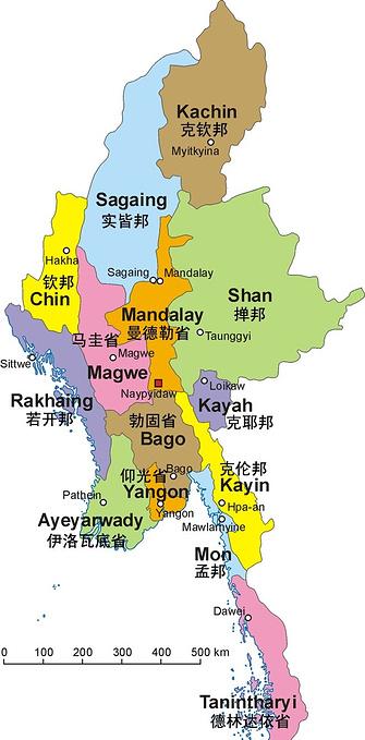缅甸地区地图