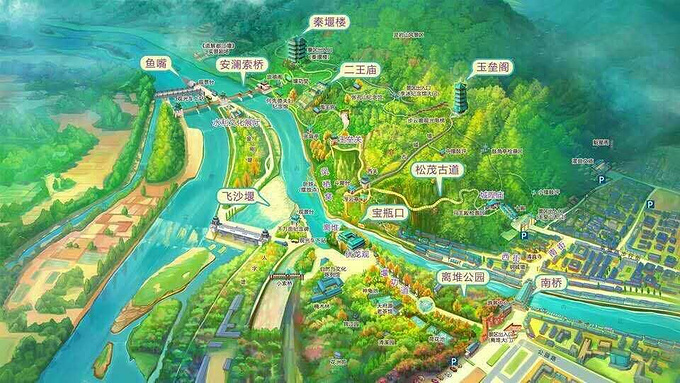 都江堰的手绘地图