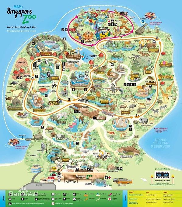 这张地图很实用, 有具体的动物分区,还有小火车的行驶路线图.