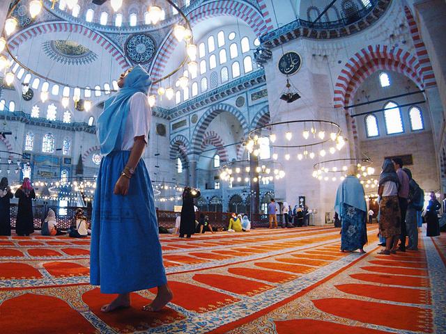 """""""女性要以围巾遮住头发,在寺内不能开闪光灯拍照,不能吃东西_苏莱曼清真寺""""的评论图片"""