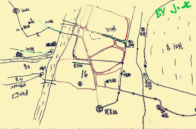 武汉景点分布图手绘