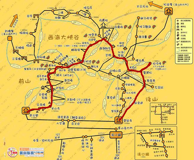 网上找的手绘地图,画了我们的路线图.