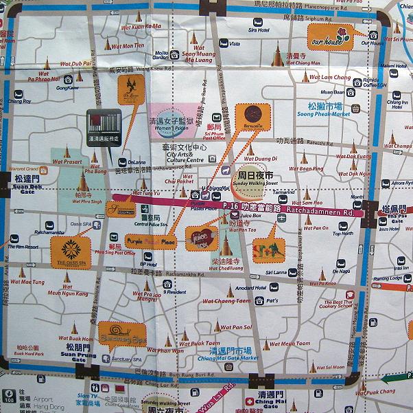 清迈古城超详地图图片