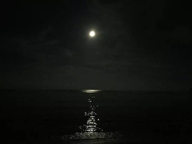 这是爸爸妈妈晚上去海边遛弯拍的,十五的月亮十六圆