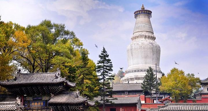 """塔院寺是五台山著名的五大禅处之一。塔院寺有五台山的标志性建筑——大白塔,通体洁白,塔顶上悬有两百多个铜铃,声音清脆悦耳,座塔拔地而起,凌空高耸,大白塔也是朝圣佛教信徒心目中的偶像。香客多绕行白塔还愿,一边走一边念经或叩头,一边抚转法轮。蒙藏族佛教徒到五台山,首先要朝拜""""塔院寺五圣迹""""的第一圣迹,就是大白塔。"""