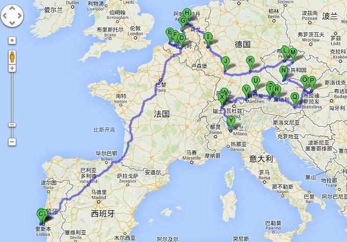 欧洲线路google地图版