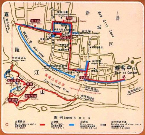 阆中旅游手绘地图