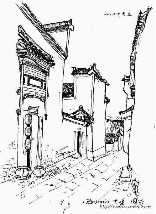 苏州周庄古镇手绘