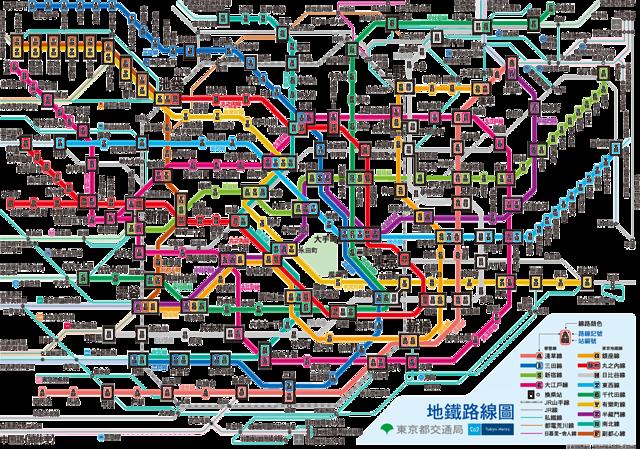 東京地鐵線路圖中文版圖片