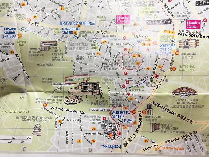 雅典中心区及主要景点地图.