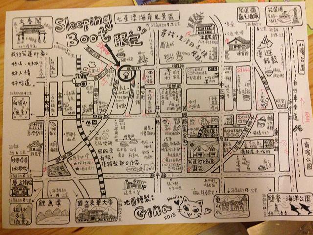 老板给的手绘地图~很详尽