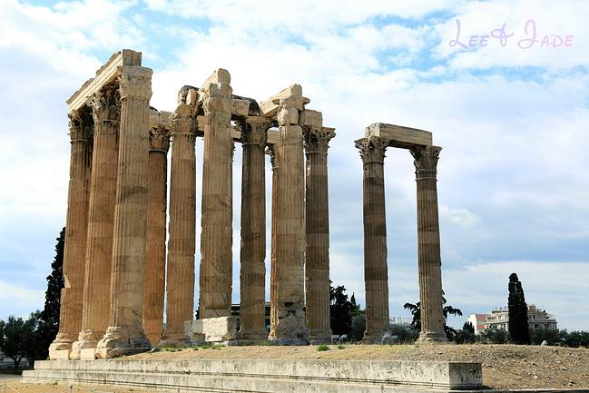 雅典帕农神庙图片柱子手绘图