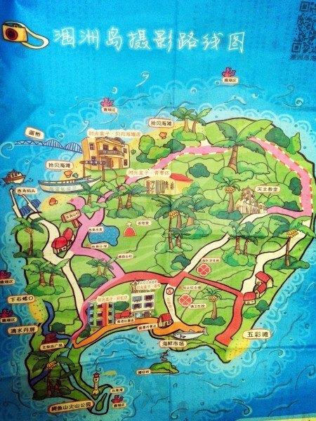 先附上涠洲岛手绘地图一张