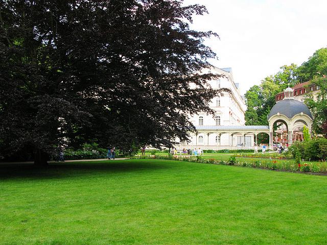 非常古典的造型,两个青铜圆顶凉亭以白色铸铁长廊相互连接,铸铁栏杆图片