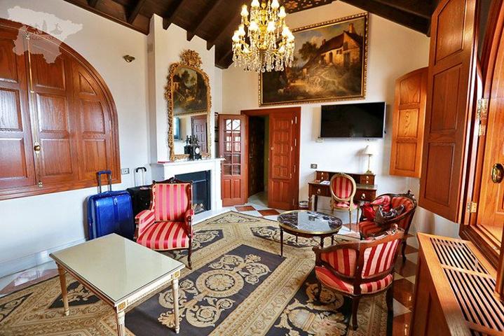 欧式天花板上复古的吊灯和墙上的油画有一种重重的时代感壁炉上面大大
