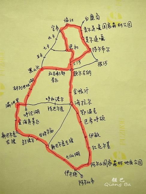 大环线的手绘图