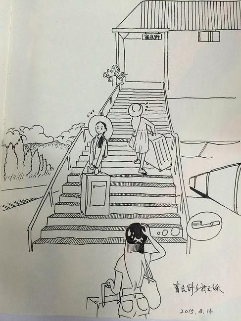 梯子立体素描画画图片