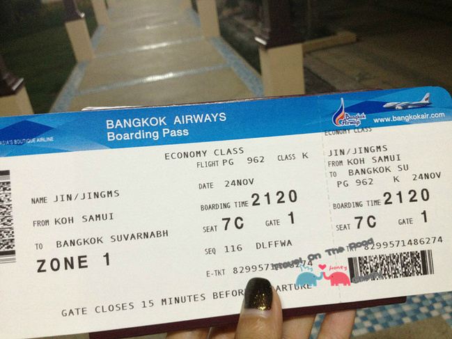 换完登机牌跟着机场内的指示牌找到候机厅等待飞曼谷,苏梅机场很小,很
