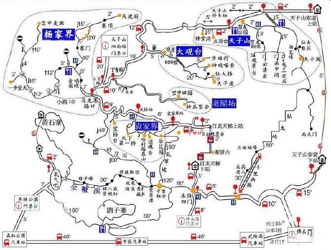 张家界国家森林公园景区分布图