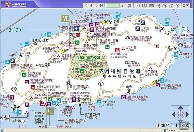 贴一张济州岛全岛主要景点分布图