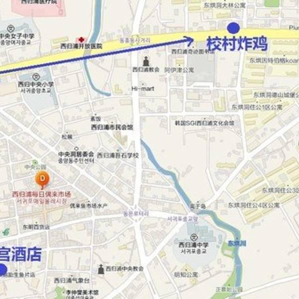 这里不得不吐槽,济州岛的韩巢地图不知道有多久没更新了,地图显示在