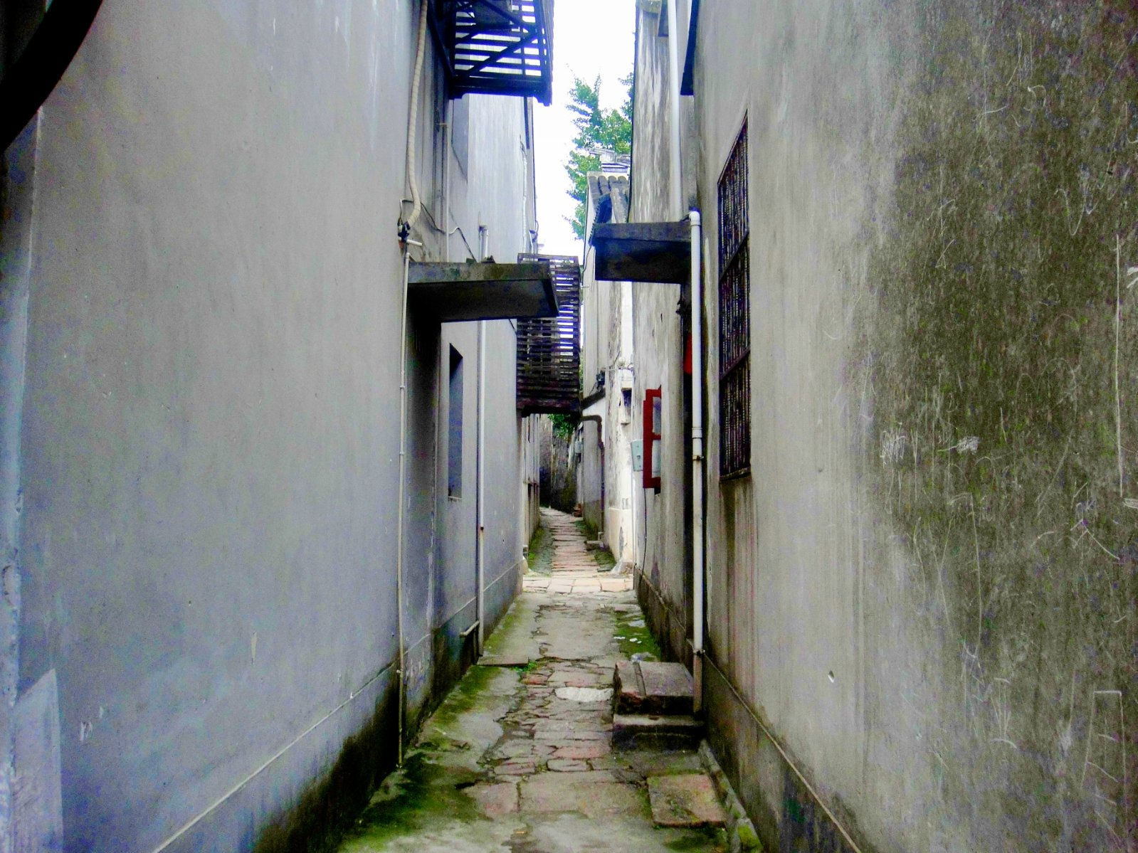 在小镇的西南角有一个穿心弄的巷子,最窄的地方不过1米,如果对面也有人走过来,两个人都侧着身才能走过去。哈哈不知道有没有人在这里有幸开启一段新的旅程。    后来有点下雨了,巷子最窄的地方,连伞都撑不开,我不得不收着伞走在也悠长寂寥的巷子里,倘若对面来个人还真不知道该怎么走呢,
