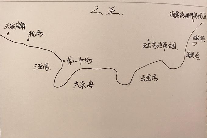 三亚手绘简易地图