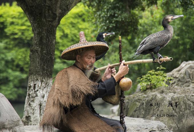 渔翁打扮,肩上一根竹竿上分别立着两只鱼鹰,身披蓑衣,头戴斗笠,木杖上
